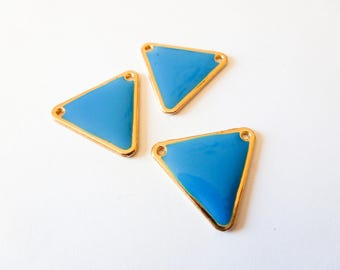 3 connectors / charms triangle gold metal and blue 18 * 20mm epoxy (SFBD19)