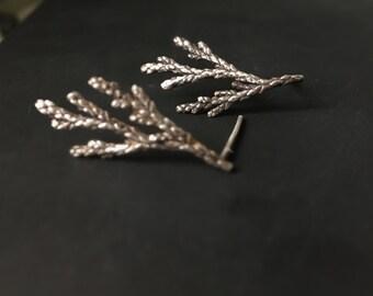 Silver woodland earrings -Sterling silver stud earrings -Cedar branch earrings-Organic jewelry -Forest earrings -Gift for her