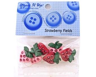 Jesse James Dress It Up Strawberry Fields Glitter Novelty Buttons