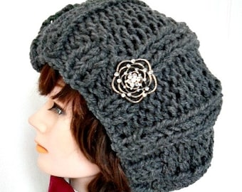 KNITTING PATTERN HAT, easy knitted ribbed stitch hat, worked flat for beginners. #977