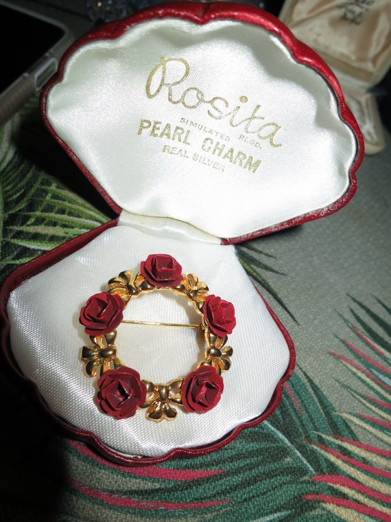 Vintage Enamel red roses & Ribbon Bow Garland Brooch