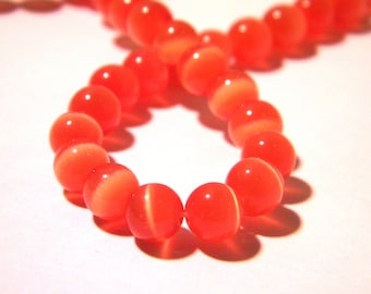 G233 1 orange bead 6 mm glass - eye of cat-cat-eyes 16 eye-CAT - 6 mm glass beads