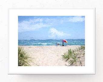 Beach Picture - Beach Umbrella, Digital Download, Ocean Print, Beach Wall Art, Beach Decor, Beach Umbrella Print, Printable Wall Art