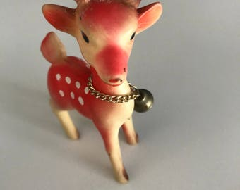 Vintage Small 50s 60s Rubber Reindeer Glitter Antlers