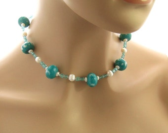 Teal Necklace, Freshwater Pearl and Teal Blue Beaded Necklace, Teal Jewelry Gift for Her, Sister Mother Wife Gift