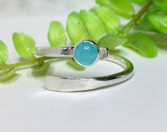 Amazonite Ring, Sterling Silver Wrap Ring,  Adjustable Ring, Thumb Ring, Knuckle Ring, Wrap Ring, Aqua Ring, Silver Stacking Ring
