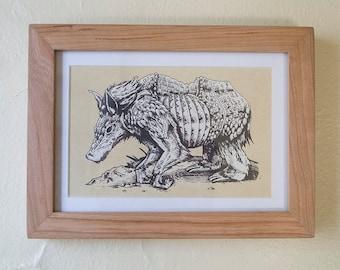 Framed Animal Print - 5x7 - Armoured Tree Hog - Handmade screenprint