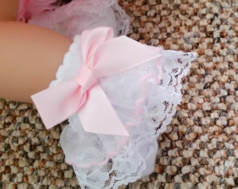 Baby girl socks, baby socks, white socks, Romany baby socks, White lace socks, lace socks, white ankle socks, Christening socks