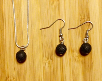 Oil Diffuser Lava Stone Necklace & Earring Set - Essential Oil Diffuser Jewelry Set