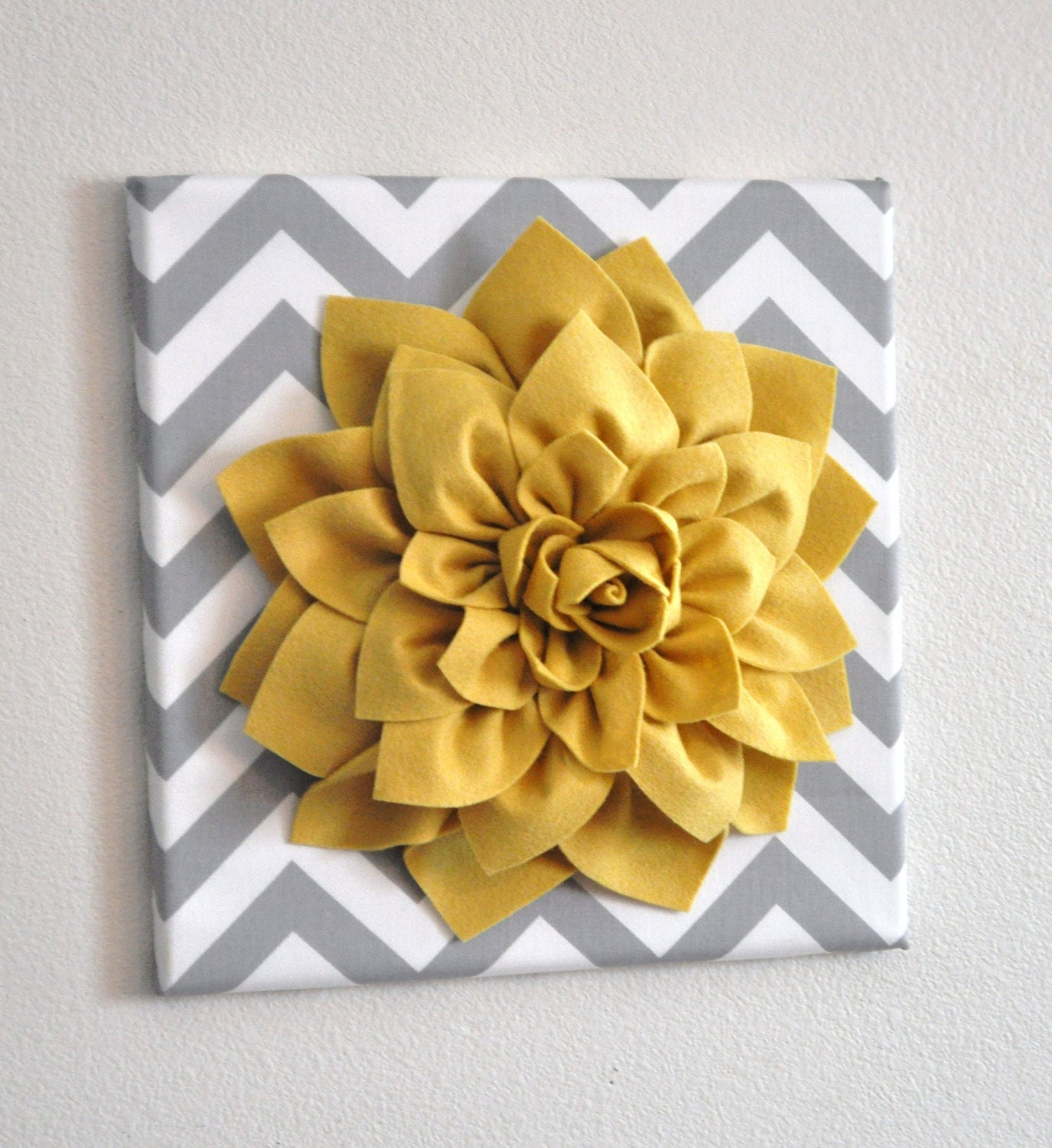 Wall Flower -Mellow Yellow Dahlia on Gray and White Chevron 12 x12\