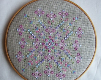 Spring Sparkle Counted Cross Stitch Chart. Part of a series of Seasonal circle designs for cross stitch.