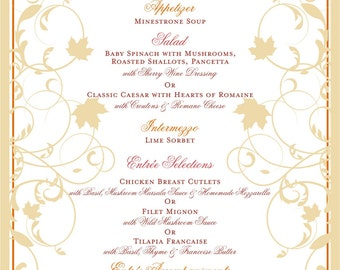 Wedding Menu - Autumn Leaves - for Bridal Luncheons and Thanksgiving - Customizable Wedding Menu