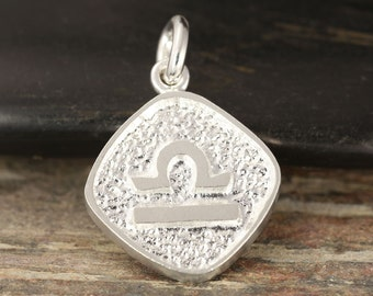 Libra zodiac pendant in sterling silver - double sided, Libra necklace, zodiac necklace, zodiac jewelry
