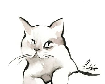 Minimalist Cat Original Watercolor and Ink Painting, Cat Painting, Black and White Modern Cat Painting Art