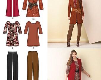 Simplicity 1593 Size 10-18 Plus Size 20W-28W Misses Knit Separates, Slim Pants, Tunic, Jacket, Vest Sewing Pattern  / UNCUT Factory Folded