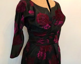 1950s vintage Horrockses black and pink roses satin jacquard fitted formal dress