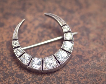 Antique Victorian English Silver & Gold Foiled Paste Crescent Moon Brooch Pin