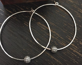 Silver Hoops,Silver Hoop Earrings,Pave Earrings,Silver Pave Hoops,Minimalist Earrings,Crystal Hoop Earrings,Large Hoop Earrings,Hoops Silver