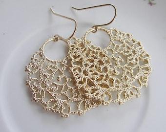 Gold Filigree Hoop Earrings, Gold Lacy Chandelier Dangles - Bohemian Gold Earrings, Bridesmaid Earrings