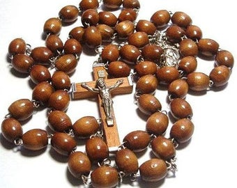 Strong Wire Brown Rosary Beads. Wood  and Metal Crucifix. Made by Hand. Perfect First Holy Communion Gift. Rosenkranz. Chapelet. Rosario.