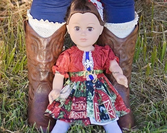 """18"""" Doll Peasant Dress, 18"""" Doll Dress, Matching Doll Clothes to Girl Dress, Dolly and Me, Me, Doll, Dress, Matching Doll, Add On to Girl"""