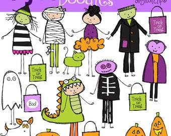 KPM Trick Or Treat Halloween Kids Digital Clip art COMBO