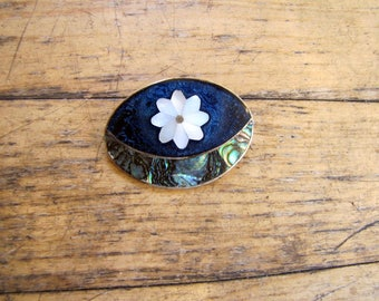 1970's Flower Abalone and Alpaca Silver Brooch, Pendant, Pendant Necklace, Pin, Brooch, Alpaca, Abalone, Mexican, Mexico, Flower