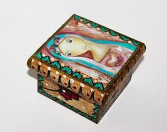 Heart of Mercy -  Original Mixed Media Handmade Jewelry Box Folk Art by FLOR LARIOS
