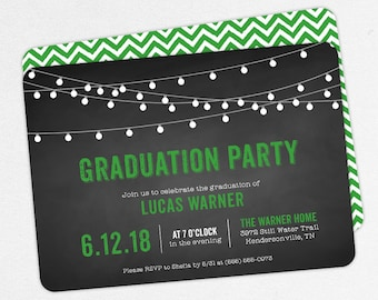 Graduation Invitation, Graduation Announcement, Printable Invitation, Invitation PDF, DIY, Printed, String Lights, Chalkboard, Green, Lucas