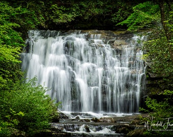 Meigs Falls in Springtime E231. Waterfall, Smoky Mountains, Tennessee, Colorful, Mountain, Smokies, Leaves, Landscape