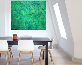 """Pamela Rys - TRAPPIST-1d 47"""" x 36"""" - 120 x 100 CM highly textured original painting - large abstract landscape by Pamela Rys"""