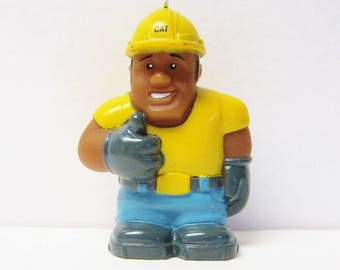 Ornament-Construction Worker Cat Operator-Hard Hat-Gloves-Black African American Figural Christmas Decoration-Holiday Tree Decor-Toy Figure