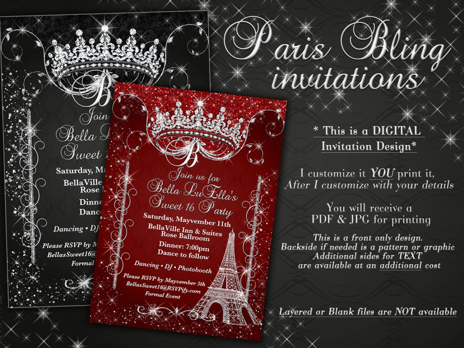 Paris Bling Invitation Sweet 16 Invitation Quinceanera
