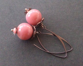"""Chocolate - Strawberry"" handmade Lampwork Glass earrings"
