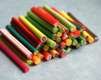 Fruit Fimo Canes Rods Sticks Bright Food Colors Lot Set