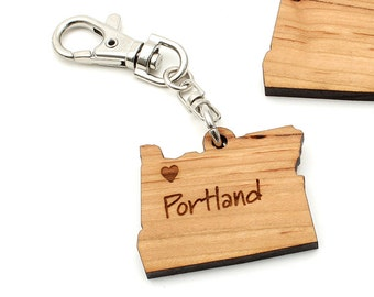 Oregon State Key Chain Key Clip - Customization Option Available. Pick Your Own City