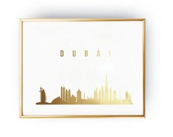 Dubai Print, Dubai Skyline, Dubai Cityscape, Skyline Art, Real Gold Foil Print,  Home Decor, Wall Art, Skyline Poster, Dubai Art, 8x10 print