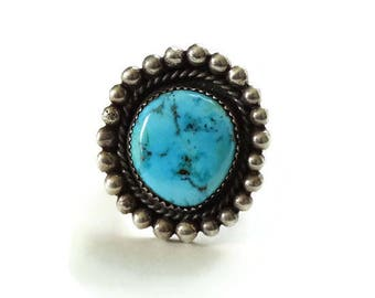 Vintage Native American Morenci Turquoise Ring Large Size 9.25 Gorgeous Stone Sterling Silver