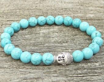 Bracelet Buddha turquoise stones adjustable Mala SM0017