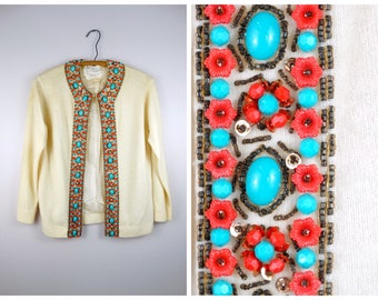 Vintage Turquoise Beaded Cardigan Sweater // Coral and Turquoise Embellished Cream Sweater