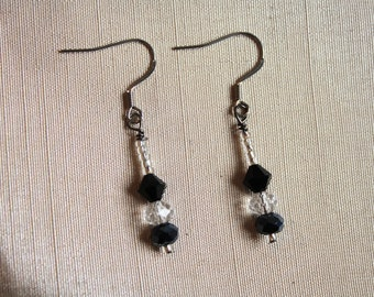 Drops earrings chic black and white
