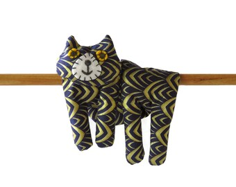 Flat Cat, Hot Cold Rice Bag, Microwave Neck Wrap, Rice Heating Pad, Hot Cold Therapy Pack, Dark Blue Gold Print, Cat Lover Gift