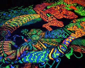 "FLUORO BLACKLIGHT ""Es-Sense""- UV visionary tapestry, trippy psychedelic fluorescence, wall hanging art, psytrip glow print, psytrance deco"