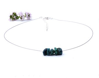 Turquoise stone choker necklace, chrysocolla jewelry, handmade silver choker, handmade jewelry chrysocolla natural turquoise necklace shikky