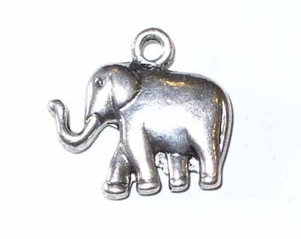 1 silver elephant charm shiny MB158 21x18mm