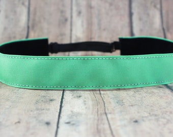 No Slip Headband. Solid Workout Headband. Yoga Headband. Adjustable Headband. Running Headband II Mint Green