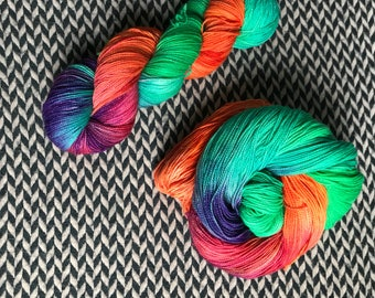 Hand-dyed yarn, Indie dyed yarn, hand dyed yarn RIPTIDE --dyed to order-- Broadway sparkle sock merino/ nylon/ stellina yarn