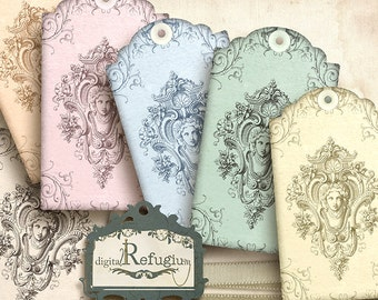 Vintage Tags, epoche flowery, digital Collage Sheet/ printable tags/Instant Download