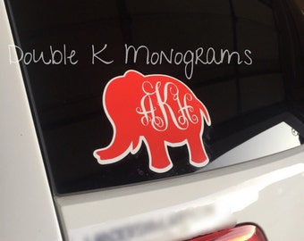 Monogrammed Elephant Car / Laptop Decal / Personalized Alabama School Pride Decal