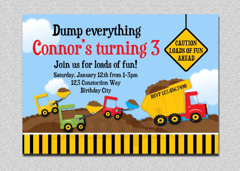 Construction Birthday Invitation Boys Truck Birthday Party